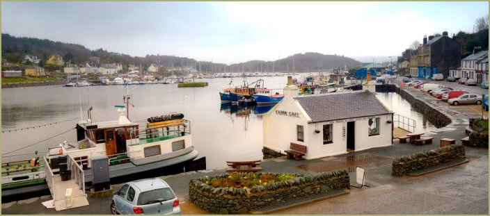 View of Tarbert Harbour Loch Fyne from the Anchor Hotel